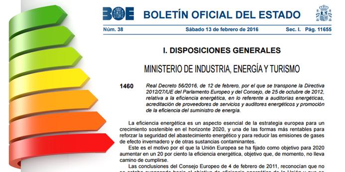 Auditorias Energéticas implicaciones del Real Decreto 56/2016
