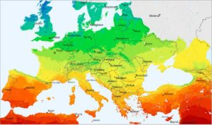 Gráfico de irradiación en Europa