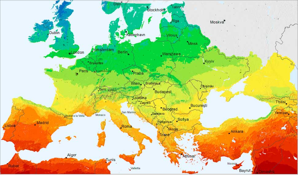 Gráfico de radiaciónen Europa